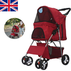 Folding Pet Stroller Dog Cat Puppy Pram Pushchair Travel Cart Carrier Walk New