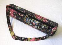 Kantha Black Floral Yoga Mat Carrier Bag Hippie Gym Bags With Shoulder Strap