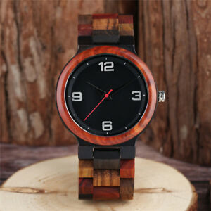 Newest Natural Wood Bamboo Band Mens Male Quartz Wrist Watch Father Day's Gift