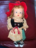 """Vtg 11"""" Painted Face Composition Girl Doll"""