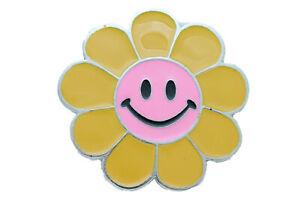 Unisex Buckle Teens Women Retro Fashion Yellow Flower Emoji Cartoon Collection