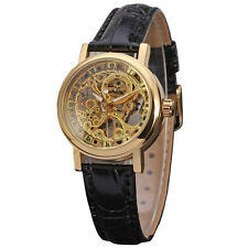 Winner Leather Band Women Dress Wrist Watch Luxury Gold Skeleton Dial Mechanical