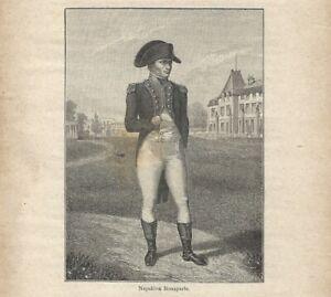 Stampa antica NAPOLEONE BONAPARTE ritratto in piedi 1898 Antique print