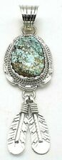 Navajo Handmade Royston Turquoise Pendant in Sterling Silver by Alfred Martinez