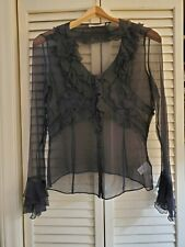 Bryan Bradley Women's Black Sheer Crinkle Texture Silk Top Sz 4