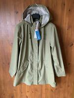 RRP £79 - JOHN LEWIS COLLECTION HOODED RAINCOAT JACKET Khaki Green Rain Coat 14