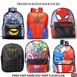 Kids Boys Girls Batman Spiderman Character Backpack School Rucksack Children