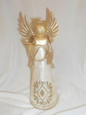 """Mother of pearl Angle Figurine with gold trim Christmas tree top 9 1/2"""""""