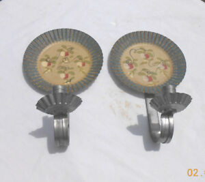 Artist Jean Dewey New England Toleware Hand Painted Tin Wall Candle Holders