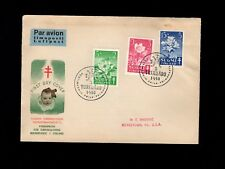 Finland Air Mail Fdc Tuberculosis Set Turku Abo 1950 Cover to Usa 9k