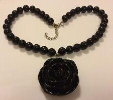 Chunky Black Acrylic Flower Necklace Resin Rose Pendant 50s Vintage Rockabilly