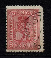 "Norway, 1867-68 used, 8 skill, perf. 14,5*13,5 overprint on reverse side ""LO"""