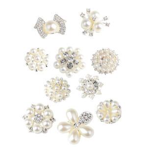 10pcs Bling Crystal Cluster Pearls Rhinestones DIY Wedding Buttons Flat Back