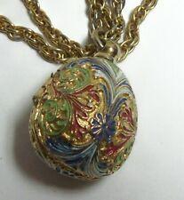 Cute Vintage Enamel Easter Egg TAYLOR Necklace Watch