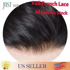 Full French Lace Men Toupee Light Density Remy Hair System Replacement for Men