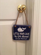 Little Man Cave Whale Wooden Nautical Nursery Boy's Room Door Sign