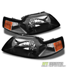 Black 1999-2004 Ford Mustang Headlights Headlamps Replacement 99-04 Left+Right