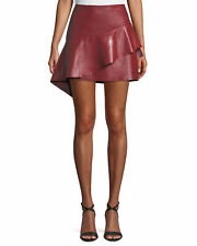 JOIE Botan Women's Skirt Size 6 Red Leather A Line Draped Ruffle Mini $498