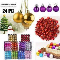 48PCS Glitter Christmas Baubles Xmas Tree Ornament Hanging Ball Decor 3cm Diy
