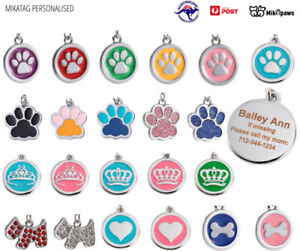 MIKATAG Deluxe Pet ID Tag Dog Kitten Puppy Cat Name Tags Personalised Engraved