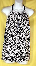 Victoria's Secret BLACK & WHITE ANIMAL PRINT Low Back Halter Blouse Top Size M