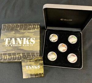 2010 Perth Mint 1oz Silver Proof 5 Coin Set - Tanks of World War II