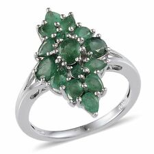 Genuine Kagem Zambian EMERALD Cluster Style RING Plat / Sterling Silver 3.15 Cts