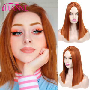14inch No lace Machine made wigs Copper Red Synthetic hair Daily use