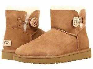 Women's Shoes UGG MINI BAILEY BUTTON II Suede & Sheepskin Boots 1016422 CHESTNUT