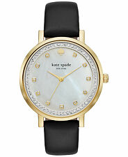 Kate Spade New York Women's Pave Monterey Black Leather Watch #KSW1206 -NWT