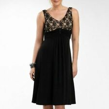 Jessica Howard Black/Champagne V-Neck Lace Top Dress W/Broach Size 12