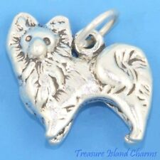 POMERANIAN DOG BREED 3D .925 Solid Sterling Silver Charm Pendant MADE IN USA