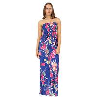 Women Ladies Plus Size Boobtube Printed Sheering Summer Maxi Dress S/M to XXL