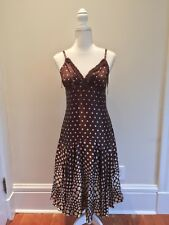 TED BAKER Silk Brown and Ivory Polka Dot Flared Dress Size 2 , US Size 6