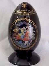Palekh Russian Porcelain Egg figurine + Stand-IVAN-FIREBIRD-WOLF-Signed & Number