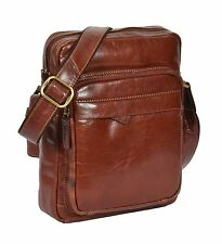 Mens Messenger High Quality Leather Bag Cognac iPad Travel Casual Flight Bag NEW