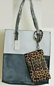 Faux Leather Contrast Color Block Open Top Deep Tote Shopper Bag & Leopard Purse