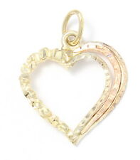 14k Yellow Gold Diamond Cut Nugget Style Heart Charm Necklace Pendant