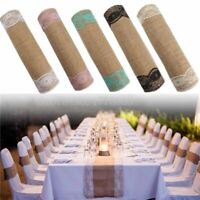 New Rustic Burlap Lace Hessian Table Runners Natural Jute For Wedding Decoration