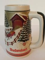 Budweiser Holiday Series 1984 Clydesdale Beer Stein Mug Covered Bridge