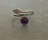Sterling Silver Plated Open Feather Ring Gemstone Cute Amethyst Rose Adjustable