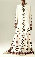 New NWT $2,700 Tory Burch Kaya Ivory Embroidered Long Maxi Dress Kaftan Gown 0