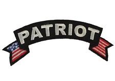 "Patriot Logo With Bordering Flags Embroidered 4"" Wide Iron On Rocker Patch"