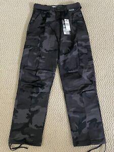 NWT Men's Regal Wear Black Gray Camouflage Camo Belt Cargo Pants ALL SIZES