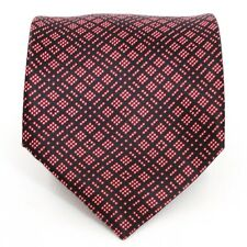 Stefano Ricci Plaid Geometric Tie Red Black Dots - 100% Silk - Made in Italy