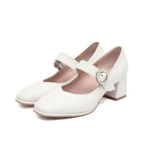 Women's Square Toe Ballet Lolita Mary Janes Ankle Strap Low Heel Shoes 47 48 D