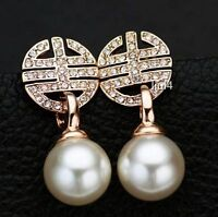 18K GP Rose Gold Element Crystal Hollow white shell Pearl Stud Earrings