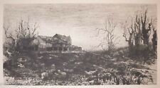 """Antique American Etching by Stephen Parrish """"November"""" Beautiful Landscape"""