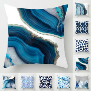 Abstract Vintage Blue Pillow Case Sofa Car Waist Throw Cushion Cover Decor