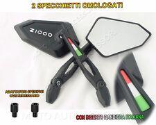2X SPECCHIETTI SPECCHI LOGO Z1000 KAWASAKI BIANCO TRICOLORE BANDIERA ITALIA 3D